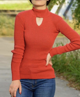 Γυναικεία μπλούζα ημιζιβάγκο 81025 κόκκινη