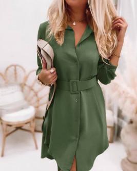 Γυναικείο φόρεμα με ζώνη 5961 σκούρο πράσινο
