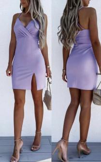 Γυναικείο εφαρμοστό φόρεμα με εντυπωσιακή πλάτη 5852 λιλά