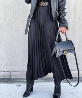 Γυναικεία μακριά φούστα πλισέ 6064 μαύρο
