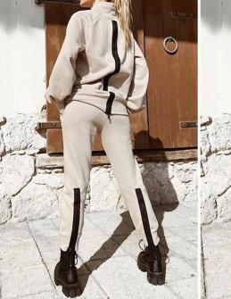 Γυναικείο αθλητικό σετ με φερμουάρ 24081 μπεζ