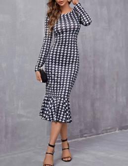 Γυναικείο μακρύ πτι-καρό φόρεμα 21843
