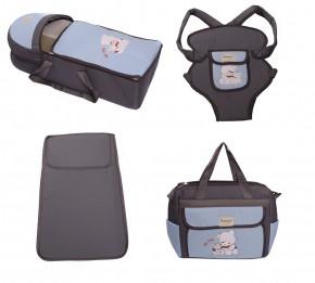 Σετ από 4 τμχ.- πορτ μπεμπέ, τσάντα, μάρσιπος και στρώμα 04106 γκρι/γαλάζιο
