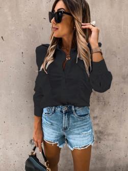 Γυναικείο πουκάμισο με βολάν 8554 μαύρο