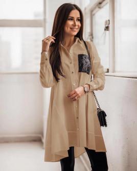 Γυναικείο πουκάμισο με τσέπη από παγιέτες 5489 μπεζ