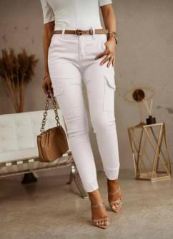 Γυναικείο παντελόνι με τσέπες 5599 άσπρο