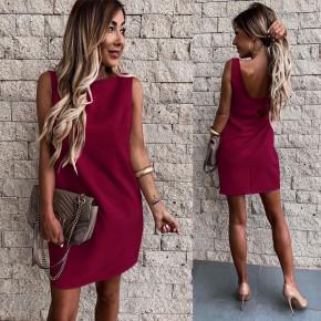 Γυναικείο εξώπλατο φόρεμα 3631 μπορντό