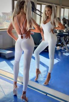 Γυναικεία εφαρμοστή ολόσωμη φόρμα 24031 άσπρη