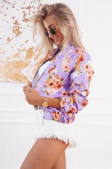 Γυναικείο μπουφάν με print 3089 λιλά