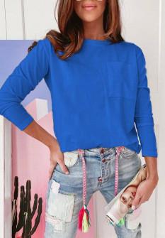 Γυναικεία απλή μπλούζα 51037 μπλε