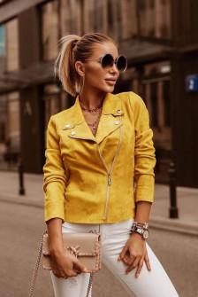 Γυναικείο κοντό σουέτ μπουφάν 5282 κίτρινο