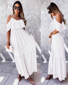 Γυναικείο μακρύ φόρεμα 5701 άσπρο