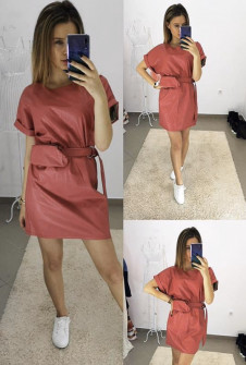 Γυναικείο φόρεμα δερματίνης με τσαντάκι H0945 κοραλί