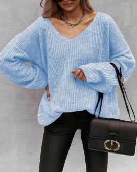 Γυναικείο φαρδύ πουλόβερ 88080 γαλάζιο
