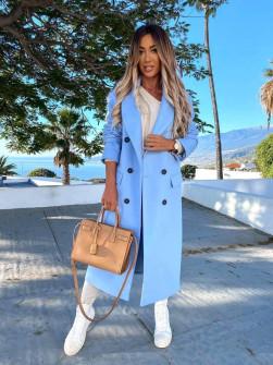 Γυναικείο μακρύ παλτό με φόδρα 5893 γαλάζιο
