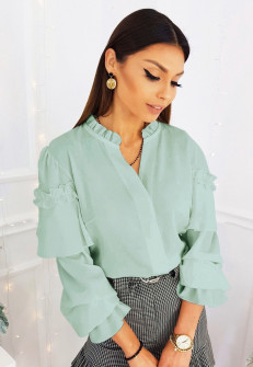 Γυναικεία μπλούζα με εντυπωσιακό μανίκι 3959 μέντα