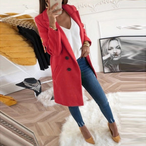 Γυναικείο στιλάτο παλτό 18829 κόκκινο