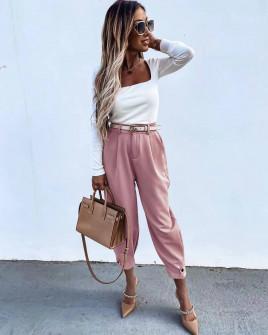Εντυπωσιακό γυναικείο παντελόνι με ζώνη 5569 ροζ