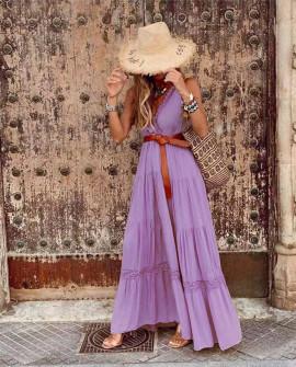 Γυναικείο μακρύ εντυπωσιακό φόρεμα 21798 μωβ