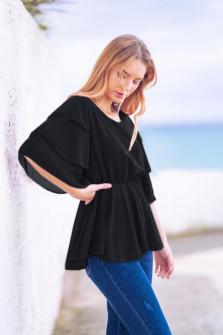 Γυναικεία μπλούζα με εντυπωσιακό μανίκι 5071 μαύρη