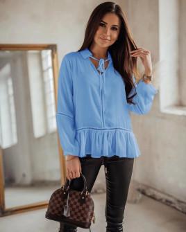 Γυναικεία μπλούζα με άνοιγμα στον ώμο 5436 γαλάζια