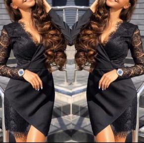 Γυναικείο φόρεμα με δαντέλα 19129 μαύρο