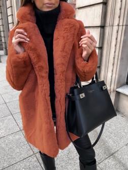 Γυναικείο χνουδωτό παλτό 21131 κεραμιδί