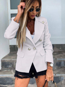 Γυναικείο κομψό σακάκι με φόδρα 5272 άσπρο