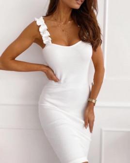 Γυναικείο φόρεμα με εντυπωσιακές τιράντες 5074 άσπρο