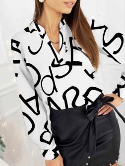 Γυναικεία μπλούζα με print 3974 άσπρη