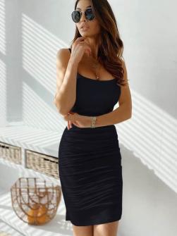 Γυναικείο φόρεμα με σούρες 5118 μαύρο