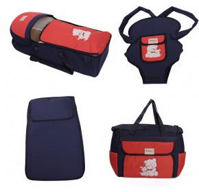 Σετ από 4 τμχ.- πορτ μπεμπέ, τσάντα, μάρσιπος και στρώμα 04106 σκούρο μπλε/κόκκινο