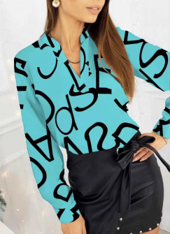 Γυναικεία μπλούζα με print 3974 τυρκουάζ