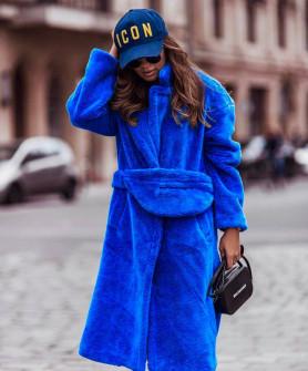 Γυναικείο χνουδωτό μακρύ παλτό 19218 μπλε