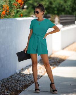 Γυναικεία ολόσωμη φόρμα με ζώνη κορδέλα 5085 πράσινη