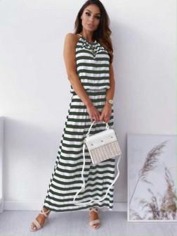 Γυναικείο μακρύ φόρεμα ριγέ 12282 πράσινο