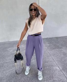 Γυναικείο παντελόνι με ζώνη 17386 μωβ