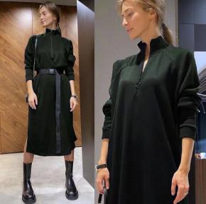 Γυναικείο μακρύ μπλουζοφόρεμα με ζώνη 5395 χακί