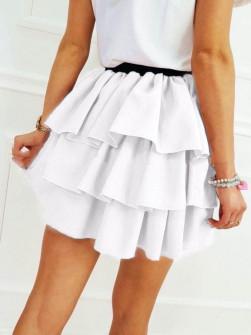 Γυναικεία φούστα με βολάν 3996 άσπρη