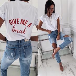 Γυναικείο κοντομάνικο μπλουζάκι  3293 λευκό