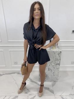 Γυναικείο σετ πουκάμισο και παντελονάκι 81699 μαύρο