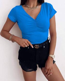 Γυναικεία απλή κοντομάνικη μπλούζα 82025 μπλε
