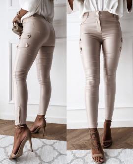 Γυναικείο παντελόνι δερματίνης P030 μπεζ