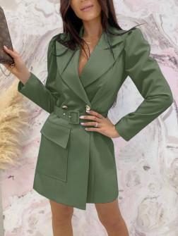 Γυναικείο φόρεμα σακάκι με ζώνη 5897 χακί