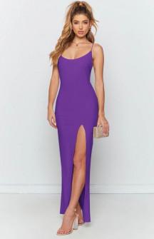 Μακρύ φόρεμα με σκίσιμο 5204 λιλά