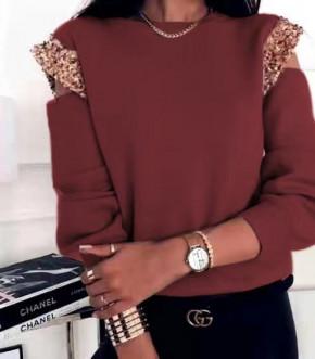 Γυναικεία μπλούζα με παγιέτες 2688 μπορντό