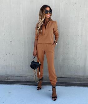 Γυναικείο σετ μπλούζα και παντελόνι 5301 καμηλό