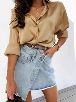 Γυναικείο σατέν πουκάμισο 5240 χρυσαφί