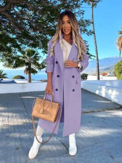 Γυναικείο μακρύ παλτό με φόδρα 5893 λιλά