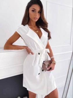 Γυναικείο φόρεμα με κουμπιά και ζώνη 5720 άσπρο